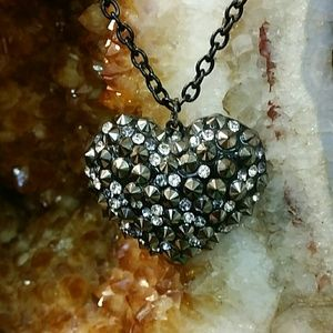 Jewelry - Heart Bling Necklace Black Adjustable Length